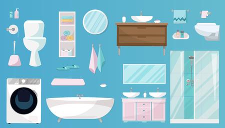 Set da bagno di Mobili, articoli da toeletta, sanitari, attrezzature e articoli di igiene per il bagno. Set di sanitari isolato su sfondo blu. Illustrazione vettoriale di cartone animato piatto Vettoriali