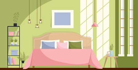 Bedroom interior with a bed, nightstands, shelf, big windows. Sun light on green wall and Pink bed cover with many pillows in room. Bedside table with indoor plants. Flat cartoon vector illustration.