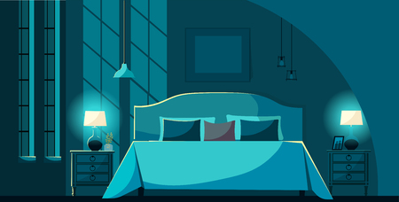 Vector bedroom interior at night with furniture, bed with many pillows in moonlight. Bedroom interior nightstands, lighting lamps and windows. Flat cartoon style vector illustration. Ilustração