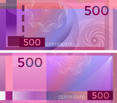 Voucher template banknote 500 with guilloche pattern watermarks and border. Purple background banknote, gift voucher, coupon, diploma, money design, currency, note, check, cheque, reward. certificate Иллюстрация