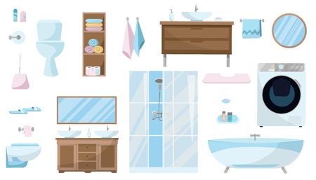 Toiletries set of Furniture, sanitation, equipment and articles of hygiene for the bathroom. Bathroom furniture set isolated on white background. Sanitary ware. Flat cartoon vector illustration Stock Illustratie