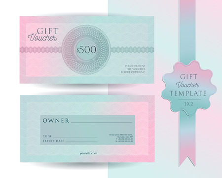 Gift voucher card template. Modern discount 500 certificate layout with guilloche watermarks pattern. Fashion bright pink mint background design with sample text. Vector set of front and back sides