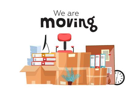 Mudarse a una nueva oficina con cajas. Accesorios de oficina en caja de cartón aislada sobre fondo blanco - monitor, carpetas, pila de papeles, planta, silla de oficina, reloj, material de mesa. Vector de dibujos animados plana