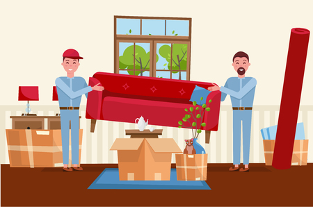 Two men workers are carrying a red sofa. Moving boxes in new house. House living room interior. Pile of stacked cardboard boxes with furniture, carpet, plants, cat. Vector flat cartoon illustration