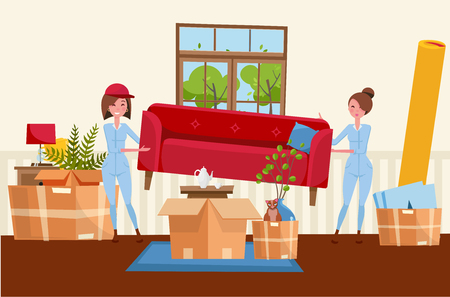 Two women workers are carrying a red sofa. Moving boxes in new house. House living room interior. Pile of stacked cardboard boxes with furniture, carpet, plants, cat. Vector flat cartoon illustration Illustration
