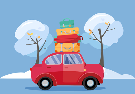 Red car with suitcases on the roof. Winter family traveling by car. Flat cartoon vector illustration. Car Side View With stack of baggage on background of snow trees. Many bags on the top of vehicle