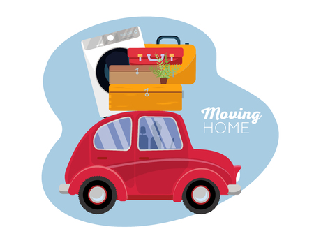 moving concept. red vintage car with suitcases on roof. Winter tourism, travel, trip. Flat cartoon vector illustration. Car Side View With Heap Of Falling suitcases on firs trees background