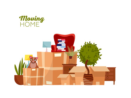 Moving home. Moving with boxes to new house. Pile of stacked cardboard boxes with furniture, chair, dump, plants, cat. Flat cartoon vector illustration isolated on white background