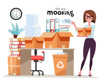 Successful smiling business woman holding cardboard box with work stuff, stack of folders at office moving. Office moving job concept. Vector flat style illustration isolated on white background.