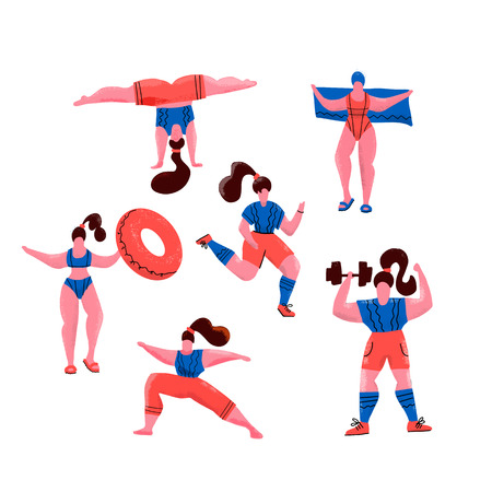 Women doing sports. Poses of yoga, exercises for healthy lifestyle, swimming in pool,. Cute girls vector flat illustration. Workout in the gym and park on white background. Fitness for every woman Illustration