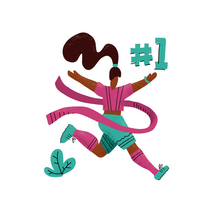 Winner woman running into the finish. Happy hand drawn sports woman crossing finish tape.Athletic girl taking part in running competition.Flat vector textured print. Number one.Woman success concept Ilustração