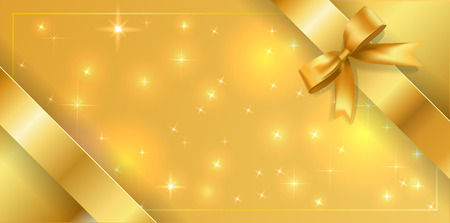Banner tied with a gold ribbon around the edges diagonally. Golden stars background with bow decoration border. Vector volume mesh multilayer Golden glitter background with gold silk bow and ribbons.