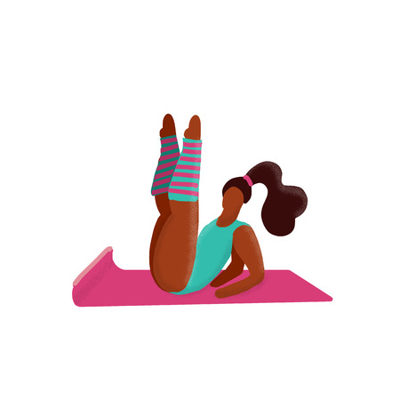Cute unusual character girl lifted her legs up. Gym Fitness Woman. Sport Figure. Healthy Aerobic Lifestyle Concept.Woman flirts in aerobics classes.Gymnastic training flat doodle textured illustration 写真素材 - 122001858