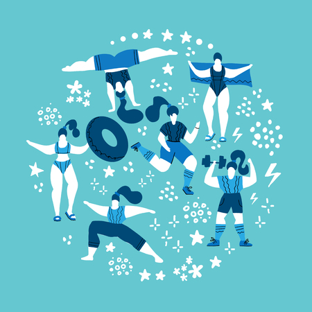 Round shape composition Women doing sports. Poses of yoga, exercises for health, swimming in pool. Cute girls vector flat illustration. Workout in the gym on blue background. Fitness for every woman Stock Photo