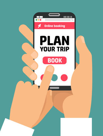 Man's Hand holding smartphone with book button on screen.Concept of online booking mobile application for renting accommodations. Plan a trip. Devices technology. .Flat cartoon vector illustration