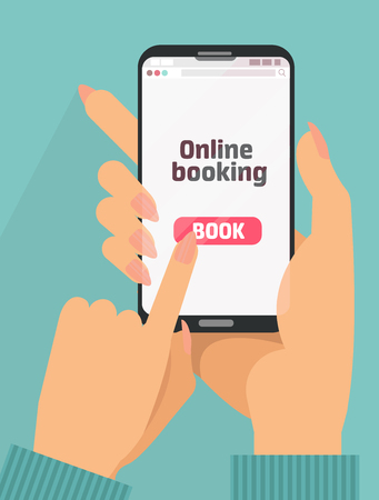 Woman's Hand holding smartphone with book button on screen.Concept of online booking mobile application for renting accommodations. Plan a trip. Devices technology.Flat cartoon vector illustration Illustration