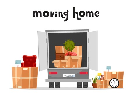 Moving Truck with Boxes. Back side of the loading truck. Cardboard boxes inside and outside the vehicle.Packed interior furniture and cat. lettering moving home qoute.Vector cartoon style illustration Banco de Imagens - 121926436