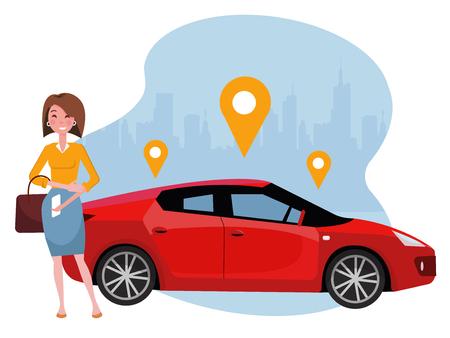 Frau mit Smartphone, das nahe Auto steht. Mieten Sie ein Auto mit der mobilen App. Online-Carsharing-Konzept. Rotes Auto des Sports auf dem Hintergrund der Silhouette der Stadt und des Geolocation-Zeichens. Flache Karikaturillustration des Vektors