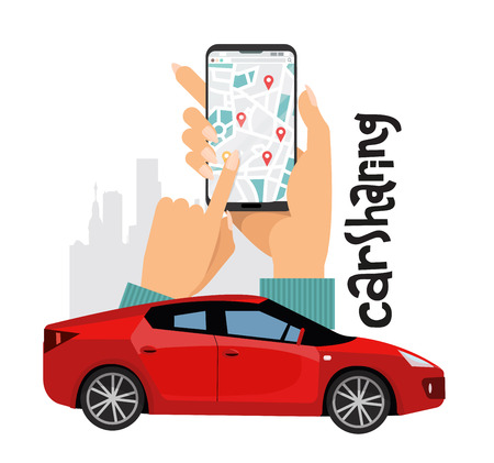 Mobile city transportation vector illustration concept. Online car sharing with big women hands with smartphone and city silhouette. Red sports car in the foreground of composition with lettering