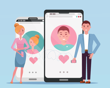 Man and woman acquaintance in social network. Used for web profiles on smartphones. Online dating app users. Human growth phones with dating site next to their owners. Flat cartoon vector illustration