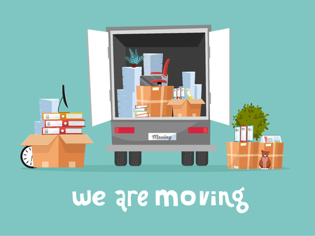 Corporate Moving into new office Concept. Business Relocation in new place. Things in Box in Truck set. Moving Furniture. Van with monitor and stacks of folders. Vector flat cartoon illustration Vektoros illusztráció
