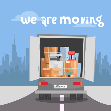 Corporate Moving into new office.Business Relocation in new place.Things in Box in Truck set. truck with printer, stacks of folders drives to side of city's silhouette.Vector flat cartoon illustration