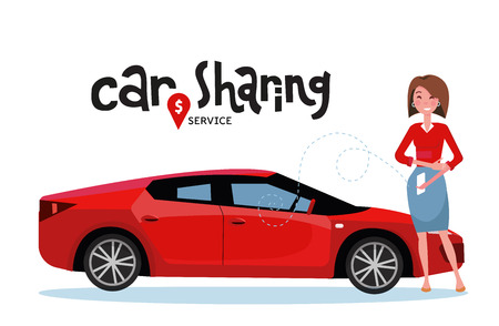 Online carsharing. Woman book car by app on mobile phone. Transportation service online. Lettering car sharing service. Happy person in front of red sport car. Vector flat cartoon illustration