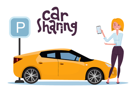 Attractive blond young woman holding mobile phone rents a car in the parking lot online. New yellow car stands at the parking sign. Carsharing concent. Vector flat cartoon illustration with lettering.