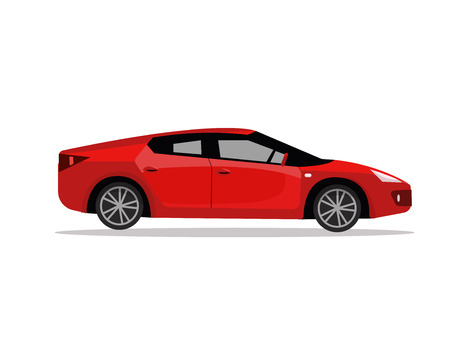 Side view of red sport car. Modern detailed car. Red sedan vehicle. Vector flat cartoon illustration isolated on white background