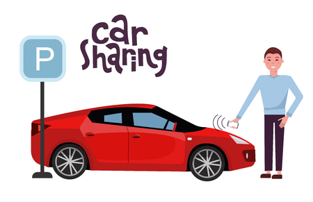 Man opens a red car rendered in a car sharing with a mobile phone. Side view of sports car on parking lot near parking sign. Remote start machine. Vector flat cartoon illustration with hand lettering. 矢量图像
