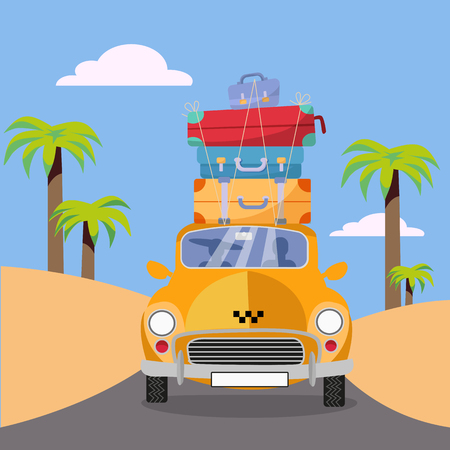 Yellow taxi car riding along sea coast with stack of suitcases on roof. Flat cartoon vector illustration. Car Front View with pile of luggage. Southern landscape with palm. Taxi transfer on vacation