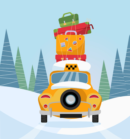 Yellow taxi car back view. Taxi with a stack of luggage on the roof driving through winter snowy forest. Long ride in the suburbs. Cute old car. Vector flat cartoon illustration