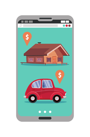 Smartphone with realty and car sales marketplace application featuring house and small classic city car with price tags. Online shopping app on mobile phone screen.Flat cartoon vector illustration. Çizim