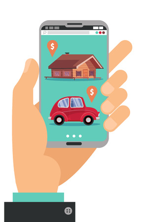 Hand holding smartphone. Concept of hand with mobile phone with realty, car sales marketplace application featuring house and small classic city car with price tags Flat cartoon vector illustration.