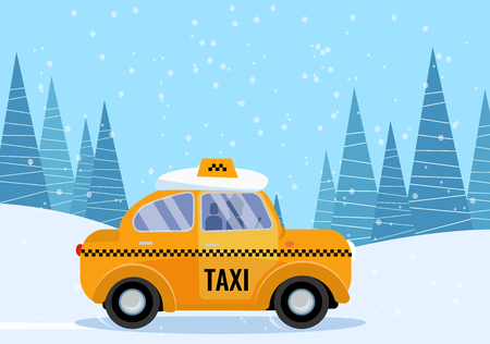 Snow-covered yellow taxi rides through the winter snowy forest with a snowdrift on the roof. The concept of safe and comfortable trips to the suburbs. Vector flat cartoon illustration
