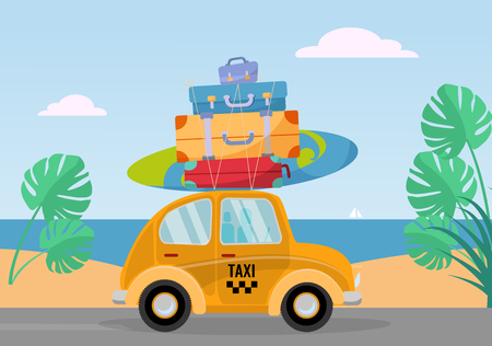 Little yellow retro taxi car rides from the sea with stack of suitcases on roof. Flat cartoon vector illustration. Car side View with surfboard. Southern landscape with sand. Taxi transfer on vacation
