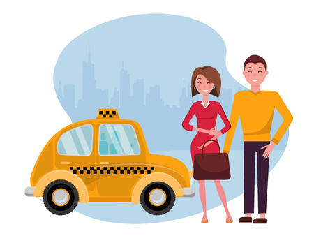 Smiling young man and woman are standing next to a cute yellow taxi against the silhouette of a big city. Convenient urban travel concept for young business people. Vector flat cartoon illustration Stock Illustratie