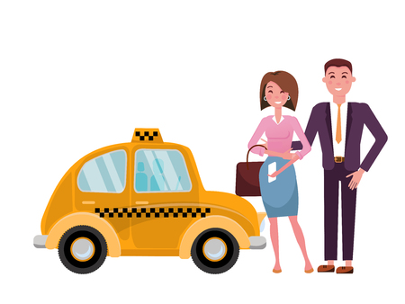 Beautiful married couple next to a cute yellow taxi. Business man in suit and elegant lady called a taxi with a mobile phone. Side view. Isolated Vector flat cartoon illustration on white background