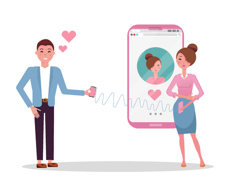 Online dating app users. Man and woman acquaintance in social network. Man is in love with a girl from dating site. Woman stands next to big smartphone with her web profile on screen. Flat vector