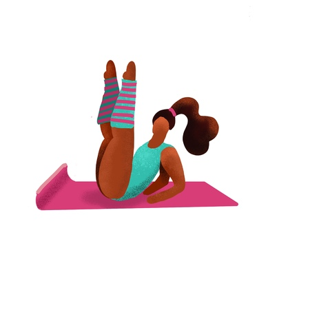 Cute unusual character girl lifted her legs up. Gym Fitness Woman.Sport Figure. Healthy Aerobic Lifestyle Concept.Woman flirts in aerobics classes.Gymnastic training flat doodle textured illustration