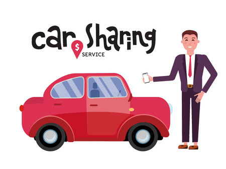 Composition with automobile and male character standing beside giant mobile phone with city map on screen. Colorful vector illustration in flat style for carsharing or car rental service.