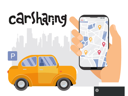 Mobile city transportation concept, Online car sharing with male hand holding smartphone. Map of the city with signs of geolocation on the screen. lettering carsharing.Vector flat cartoon illustration