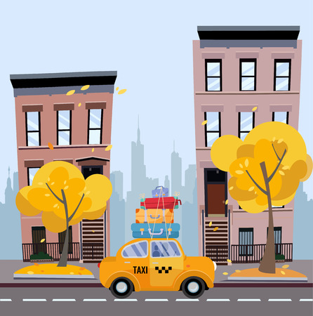 Cute yellow taxi with suitcases on the roof rides on a cozy city street with apartment buildings with the silhouette of skyscrapers in the distance. Autumn cityscape. Vector flat cartoon illustration Illustration