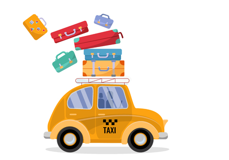 A little cute yellow taxi is in such a hurry that it loses the suitcases lying on the roof. yellow public passenger vehicle. taxi dride fast. Vector flat cartoon illustration on white background Stock Illustratie
