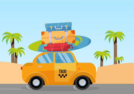 Little yellow taxi car riding along sea coast with stack of suitcases on roof. Flat cartoon vector illustration. Car side View with surfboard. Southern landscape with palm. Taxi transfer on vacation
