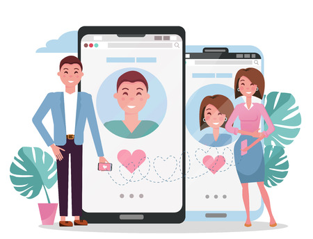 Online dating social networking, virtual relationships concept. Man and woman acquaintance in social network.Male female chatting on Internet.Flat cartoon vector illustration of couple near big phones