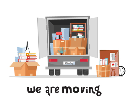 Open trunk of the truck woth stack af office things in cardboard boxes.Corporate Moving.Unloading or loading van. We are moving home concept with lettering qoute.Vector flat cartoon style illustration