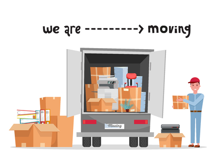 Man worker in uniform with cardboard boxes. Moving office. Transport company. Box in hand. Cute loader. Boxes with corporate things. Moving service. lettering we are moving. Vector flat illustration 矢量图像