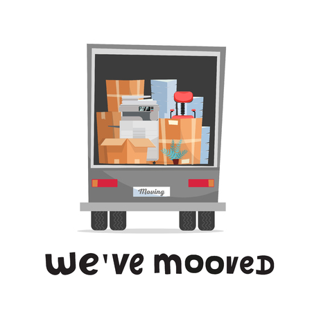 we've moved hand lettering concept. Office furniture and equipment in the back of a truck.Back view of lorry in white background. Stack pf cardboard boxes with chair, printer, plant and piles of paper