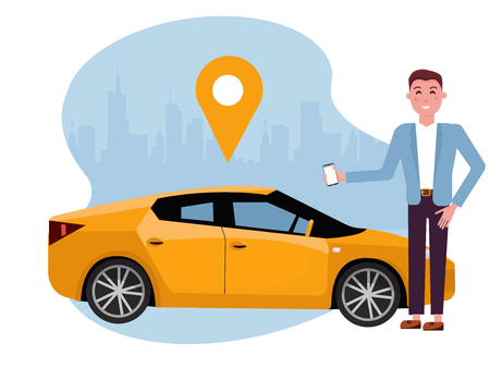 Handsome man with smartphone standing near yellow car. Rent car using mobile app. Online carsharing concept. Vehicle on background of silhouette of city and geolocation sign.Vector flat illustration Ilustração